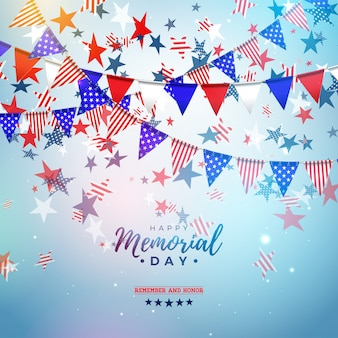 Memorial day of the usa  design template with american color party flag and falling stars on shiny blue background. national patriotic celebration illustration for banner or greeting card