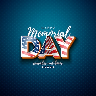 Memorial day of the usa  design template with american flag in 3d letter on light star pattern background. national patriotic celebration illustration for banner, greeting card or holiday poster