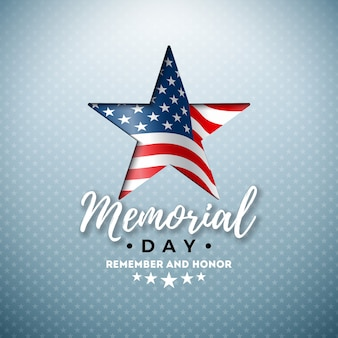 Memorial day of the usa  design template with american flag in cutting star symbol