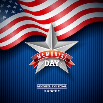 Memorial day of the usa  design template with american flag on falling colorful star background.
