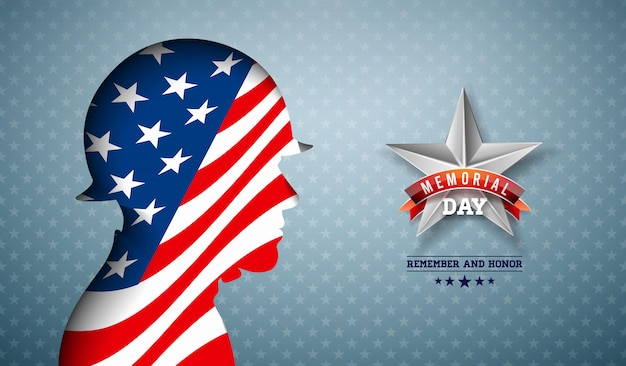 Memorial day of the usa   illustration. american national celebration design with flag in patriotic soldier silhouette on light star pattern background for banner, greeting card or holiday poster