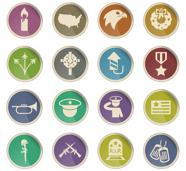 Memorial day vector icons in the form of round paper labels