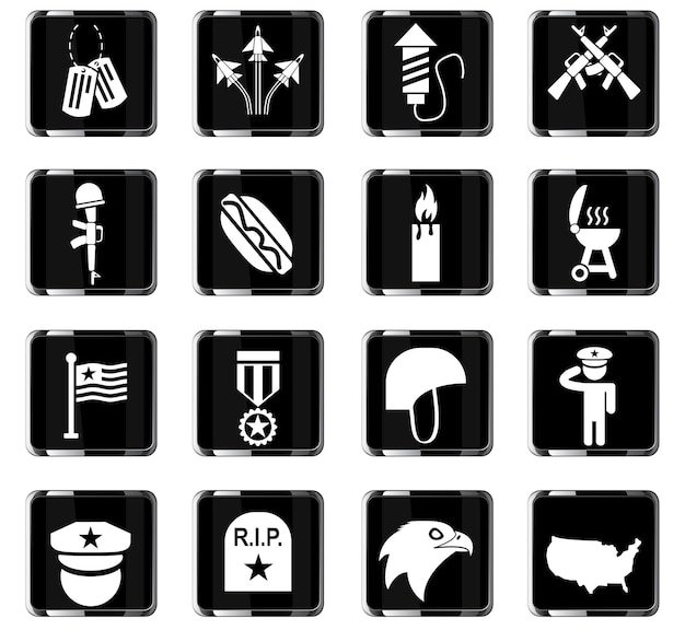 Memorial day web icons for user interface design