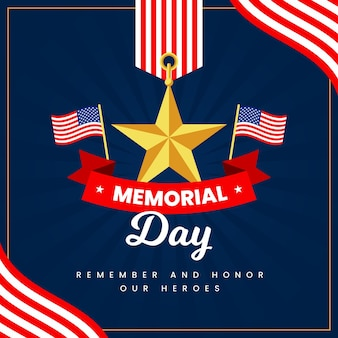 Memorial day con bandiere e stelle