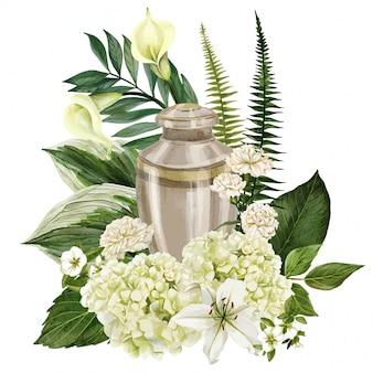 豊かな花の組成で飾られた記念の花瓶