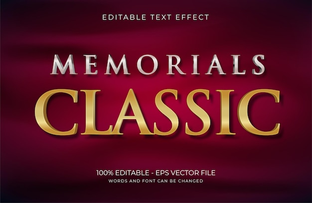 Мемориалы классический текстовый эффект premium векторы