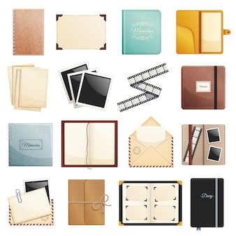 Memories collection of photo album scrapbook notepad diaries postal envelope film slide folders isolated decorative elements illustration