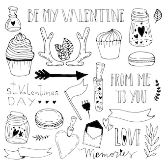 Memories in a jar. saint valentine day doodle illustration.