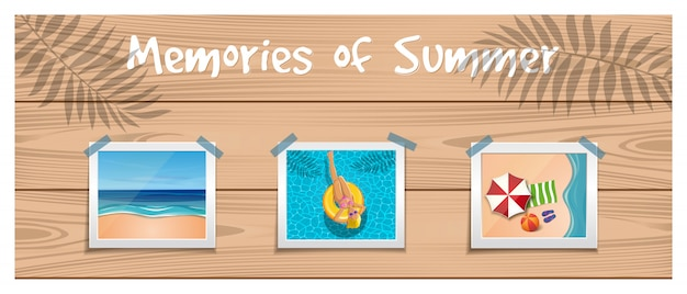 Memories of summer. photos about summer rest are attached with an adhesive tape to the wooden board.