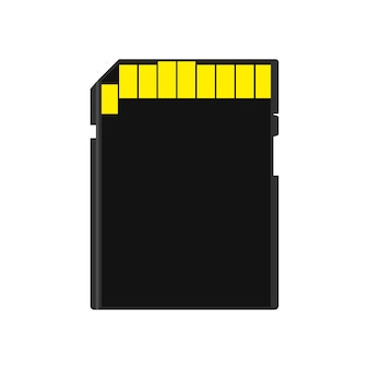 Memory card back view symbol store adapter vector icon flash drive disk.