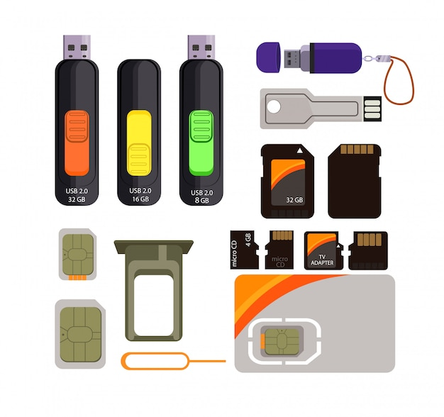 Memory cards icons set