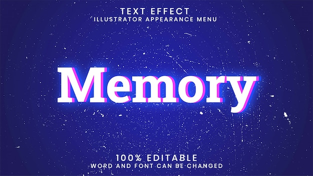 Memory editable glowing text effect style template