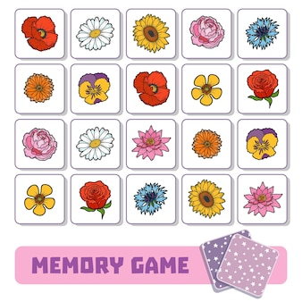 미취학 아동을 위한 메모리 게임, 꽃이 있는 벡터 카드