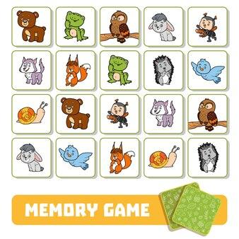 就学前の子供のための記憶ゲーム、森の動物とベクトルカード