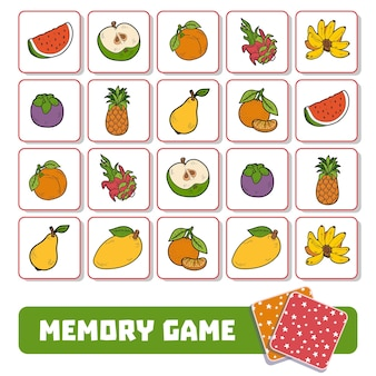 미취학 아동을 위한 메모리 게임, 과일이 있는 벡터 카드