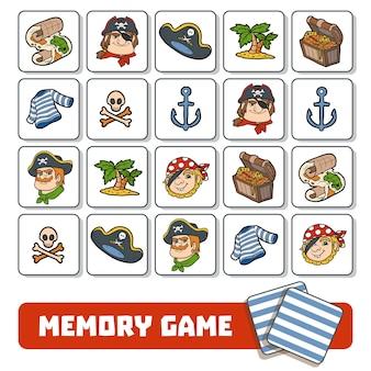 미취학 아동을 위한 메모리 게임, 해적 캐릭터 및 항목이 있는 벡터 카드