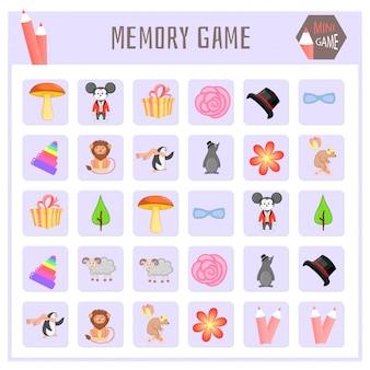 Memory game for kids, animal maps vector graphics