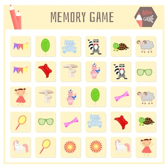 Memory game for kids, animal maps vector graphics
