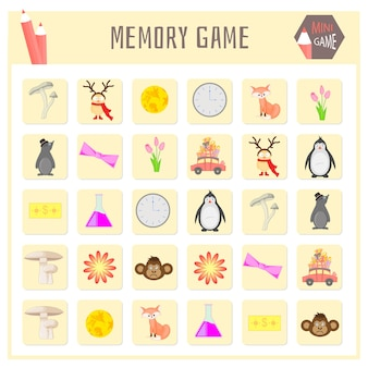 Memory game for kids, animals