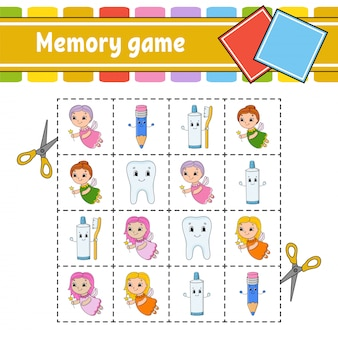 Memory game for kids. education developing worksheet. activity page with pictures.