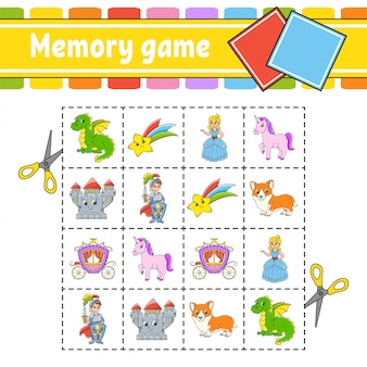 Memory game for kids. education developing worksheet. activity page with pictures. Premium Vector