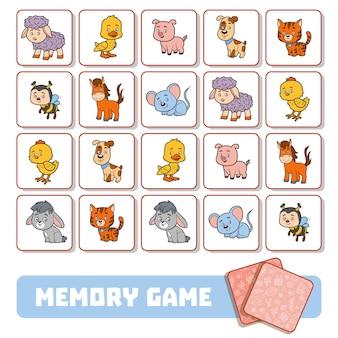 Memory game for preschool children, vector cards with farm animals