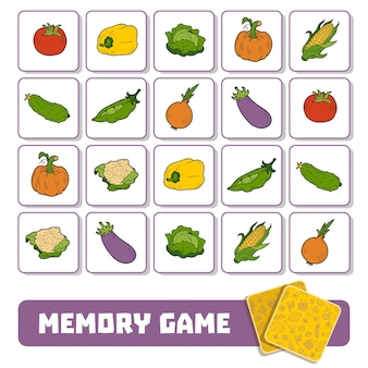 Memory game for preschool children, vector cards with vegetables