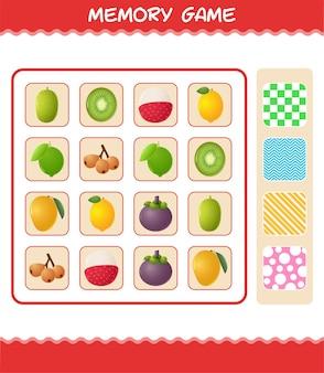 만화 과일과 함께 메모리 게임. 학습 카드 게임. 취학 전 아동 및 유아를 위한 교육 게임 프리미엄 벡터