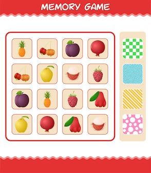 만화 과일과 함께 메모리 게임. 학습 카드 게임. 취학 전 아동 및 유아를 위한 교육 게임
