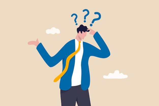 Memory loss, forget things to do or dementia cannot remember anything, confusing brain problem or cognitive illness concept, confused businessman in trouble losing memory thinking what he forget.