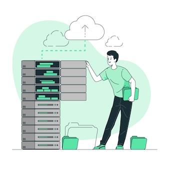 Illustrazione di concetto di archiviazione di memoria