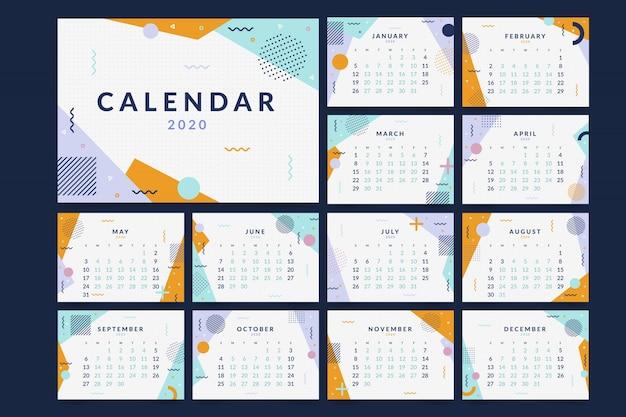 Memphis 2020 calendar template Premium Vector