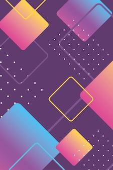 メンフィス80年代90年代スタイルのパンフレットカバーイラストの抽象的な幾何学的形状