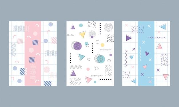 メンフィス80年代90年代スタイルのパンフレットの表紙の抽象的な幾何学的な形