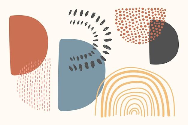 Мемфис абстрактный вектор формы в дизайне тона земли