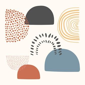 アースカラーのメンフィス抽象的な形状ベクトル