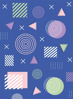 Memphis abstract shapes compositions 80s 90s style