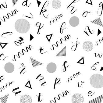 Memphis alphabet pattern background