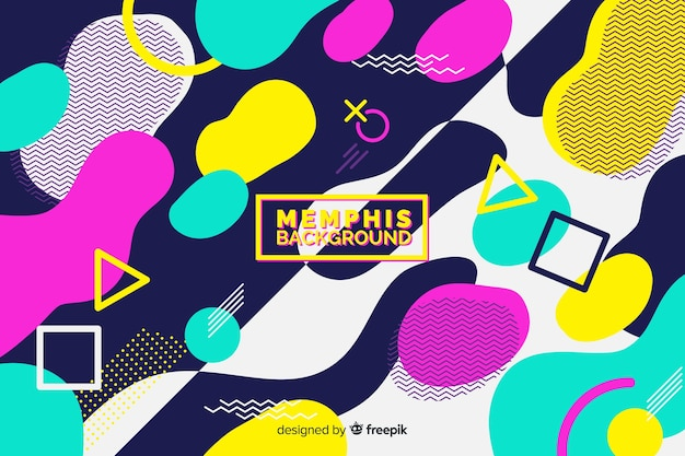 Memphis background with colourful shapes