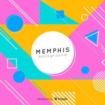 Memphis background with different colorful shapes