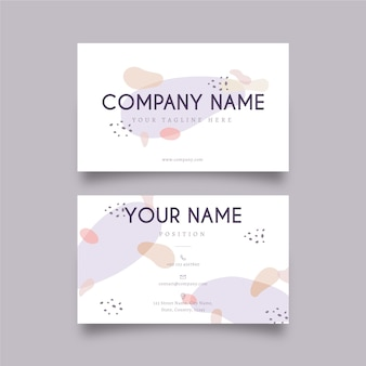 Memphis business card template with pastel-colored stains