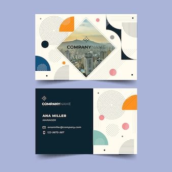 Memphis business card template with photo