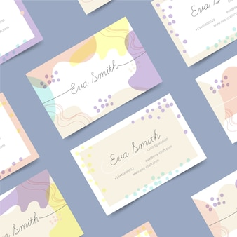 Memphis business card with pastel-colored stains template