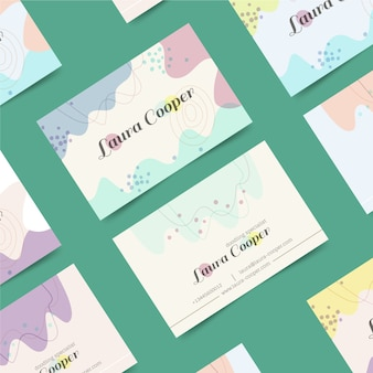 Memphis business card with pastel stains