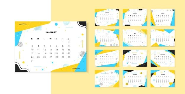 Шаблон календаря мемфис