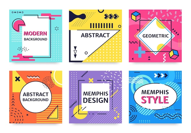Memphis card funky abstract poster with geometric shapes and textures retro 90s pop art background