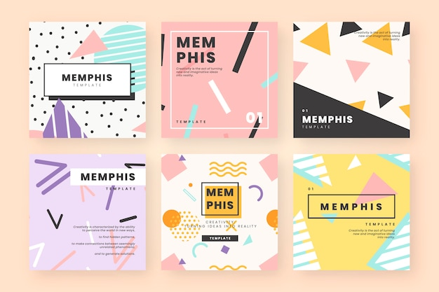Memphis card template collection