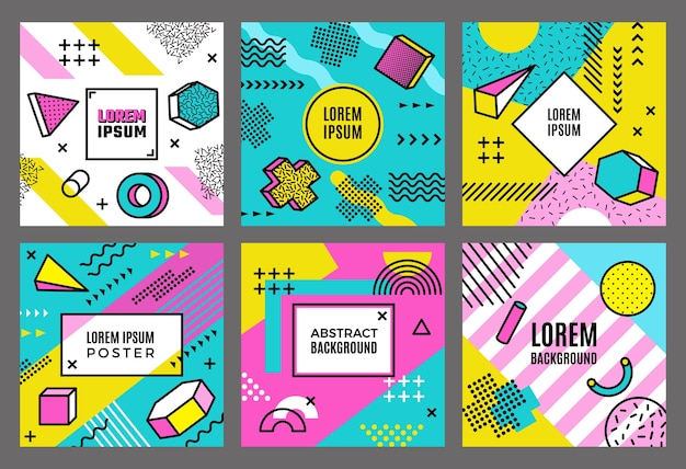 Memphis cards template. abstract fashion 90s geometrical forms background line dots circles triangles shapes vector minimalistic. illustration doodle layout colorful poster, geometry memphis pattern
