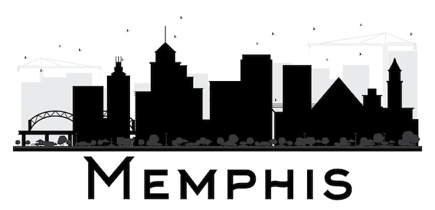 Memphis city skyline black and white silhouette. vector illustration. simple flat concept for tourism presentation, banner, placard or web site. business travel concept. cityscape with landmarks