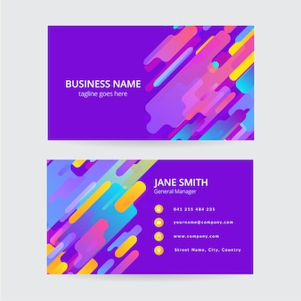 Memphis colorful business card, modern design